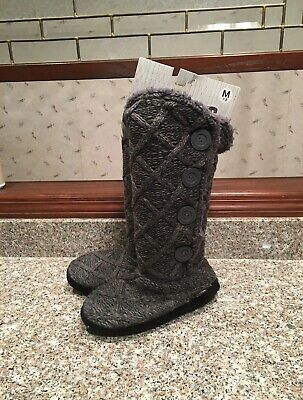 Original Muk Luks Gray Cable Knit Fleece Lined Tall Boots Sz M 7-8 New Nwt