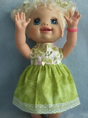 Dolls Clothes for 38cm MED BABY ALIVE DOLL ~ 3 piece dress-bloomers-hair bows