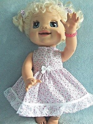 Dolls Clothes for 38cm MED BABY ALIVE DOLL ~ 3 piece dress -bloomers -hair bows