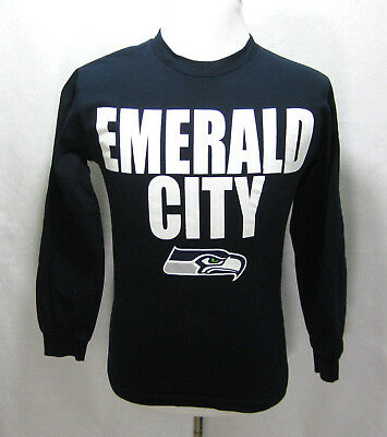 c7cb27845 Mens SEATTLE SEAHAWKS Blue Long Sleeve Football T-Shirt (Size Small S) NFL