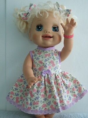 Dolls Clothes for 38cm MED BABY ALIVE DOLL ~ 3 piece dress -knickers -hair bows