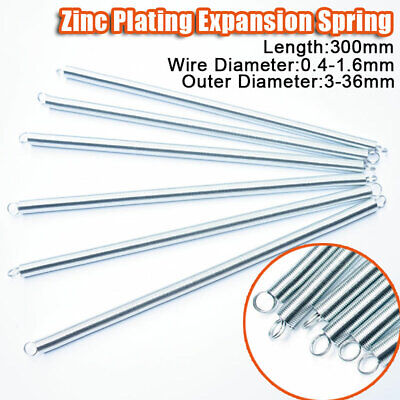300mm Expansion Tension Spring 0.4-1.6mm Wire Dia Zinc Extension Expanding Long