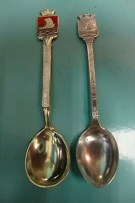 2x Hestenes Guilloche Enamel sterling silver gold gilt wash Norway Viking spoons