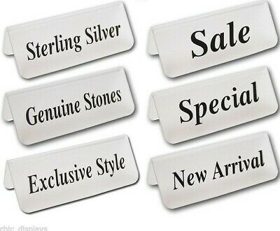 "Countertop Signs Sterling Silver Sign Acrylic Message signs Store Sale sign 3""W"