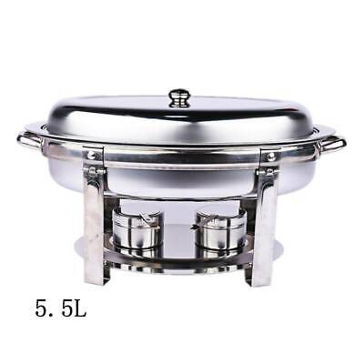6L Oval Shape Stainless Steel Chafing Dish Buffet Food Warmer Bain Marie Heater