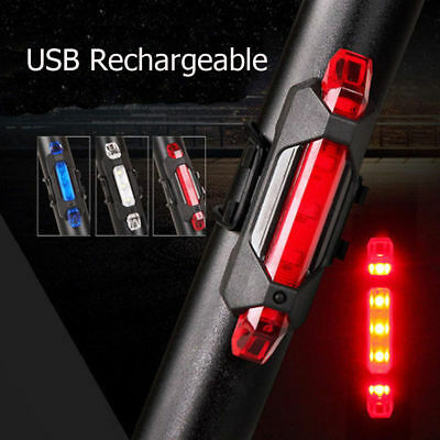 5 LED USB Rechargeable Bike Bicycle Cycling Tail Rear Safety Warning Light #d