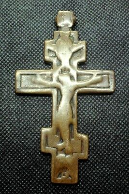 LARGE LATE MEDIEVAL BRONZE CHRISTIAN CROSS PENDANT - CLEANED - 9,3 cm