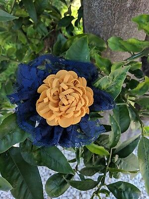 Handmade Lace Flower Yellow Navy Blue Clip-on Fascinator Hair Clip