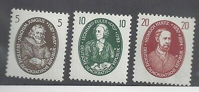 Germany DDR 352-54 MNH 1957 Famous Germany Scientists Redrawn Set