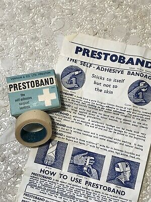 Vintage Medical Box PRESTOBAND Self Adhesive Bandage, Vernon & Co Preston