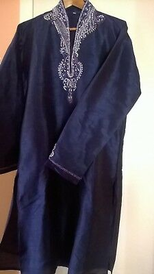 Men's Indian Kurta - Dark Blue - Size 40 / MEDIUM [USED]