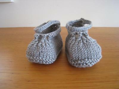 Baby Booties/shoes Shabby Chic pale grey Ankle strap Gift Present Handknitted N