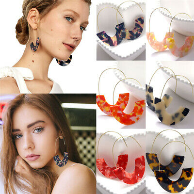 2019 Fashion Bohemia Acrylic Acetate Leopard Circle Hoops Earrings for Women New