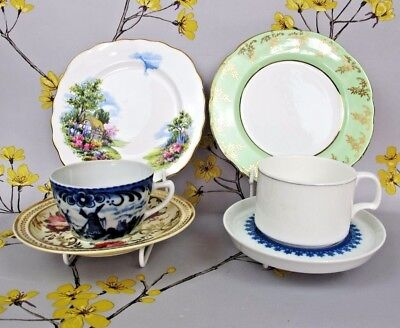 Vintage Mix & Match / Mismatched Coffee Cup, Saucer and Plate Trio x 2. Pair.