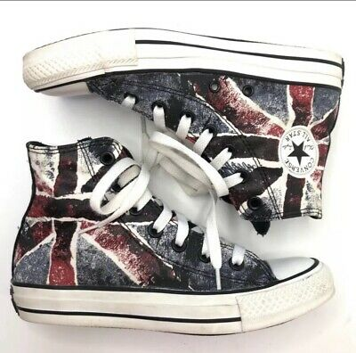 bbf552b24628 CONVERSE Chuck All Star HiTop UNION JACK British Flag Sneakers Men 4 Women  6 EUC