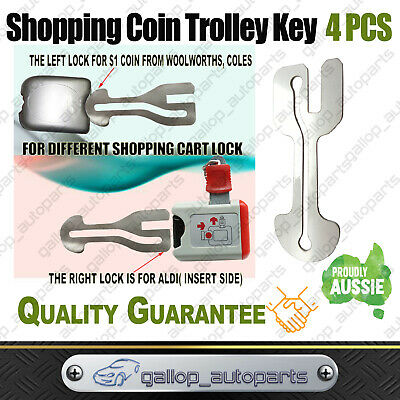 4x $1 COIN Removable Aussie Shopping Mall Trolley Key SLOT ALDI WOOLWORTHS COLES