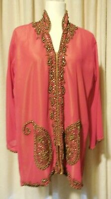 Vintage pink chiffon heavily beaded loose long top mandarin collar L