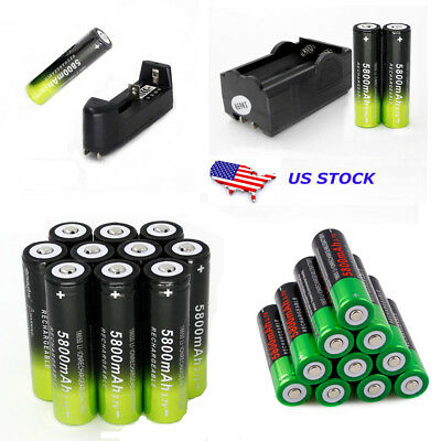 Powerful 18650 Rechargeable 3.7V 5800mAh Li-ion Battery Smart Charger For Torch