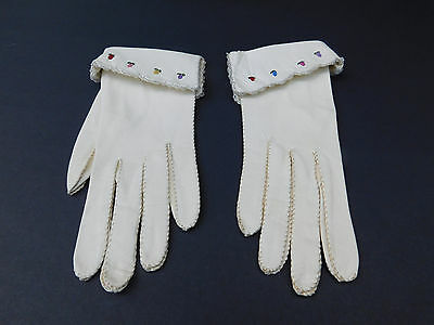 *Designer Ladies Cream Leather Gloves With Embroidered Flowers Unlined Size 6.5