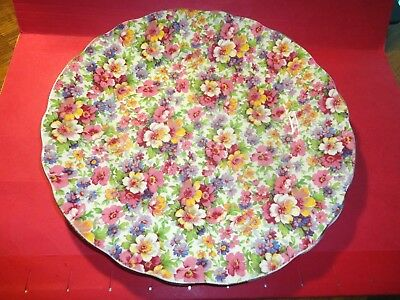 James Kent Dubarry Chintz Dinner Plate All Over Floral Pink Yellow Vintage