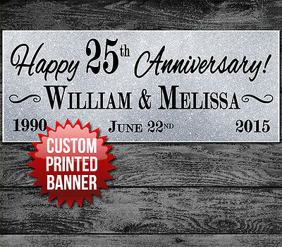 "25TH 50TH WEDDING ANNIVERSARY PARTY BANNER DECORATION 48"" x 24"""