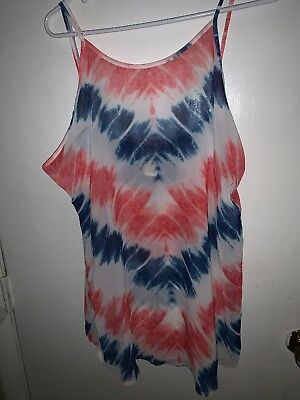 e0f3c1f7cf35a OP WOMENS XL Beach Cover Up Multicolor Semi Sheer Tank Top W6 ...