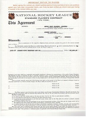 Rod Seiling 1976-77 Toronto Maple Leafs Genuine Nhl Standard Player's Contract