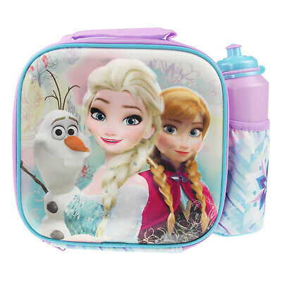 Disney Frozen 3D Thermal Insulated Kids School Lunch Bag With Bottle Drink Set