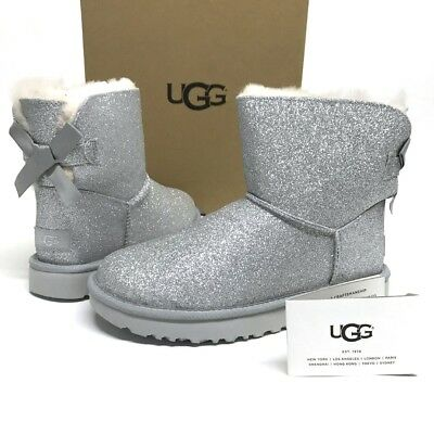 06a36787d55 UGG MINI BAILEY BOW SPARKLE Glitter Boots Booties SHEARLING Fur LINED 11  NEW NIB