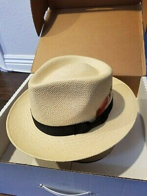 Limited Edition FEATHER in Band! STETSON RETRO GENUINE PANAMA STRAW FEDORA  HAT fabad0b0fa4