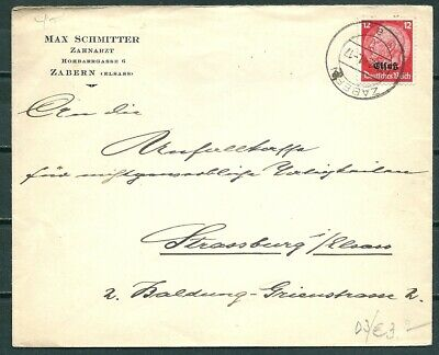 Germany 1941 Cover Zabern To Strassberg, Stamp With Ovpt -Cag 100219