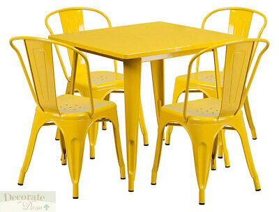 Bistro Table Set 4 Chairs Yellow Stackable Metal Indoor Outdoor Retro Style New