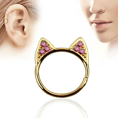 16G Surgical Steel Zircon Hoop Nose Ring Cat Ear Cartilage Stud Piercing Jewelry