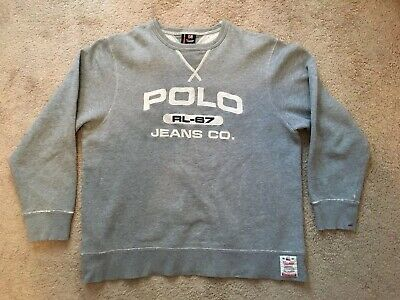 Polo Jeans Company Ralph Lauren Mens Large Navy Blue Distressed Hoodie Prl Clothing, Shoes & Accessories