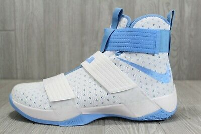 dcf7dbb7a5fe0 38 Nike Lebron Soldier 10 TB Mens White Light Blue UNC Tarheels 14 856489  142