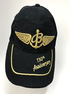 41dbe05437b Breitling Watch Hat Cap 130th Anniversary Wings Anchor Adjustable Black  Cotton