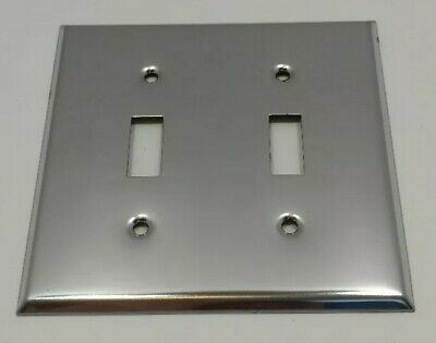 Vintage Double Light Switch Plate Chrome General Electric Mirrored NOS SR7