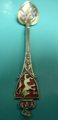 A Norway Champleve style Guilloche Enamel sterling silver gold gilt wash spoon