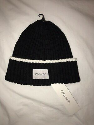4ddc5ef3633 CALVIN KLEIN BEANIE Knit Hat Navy Blue and White New! NWT -  19.99 ...