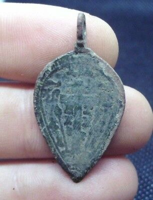 Medieval Bronze Christian Pendant With Cross And Prayer - Wearable Artifact