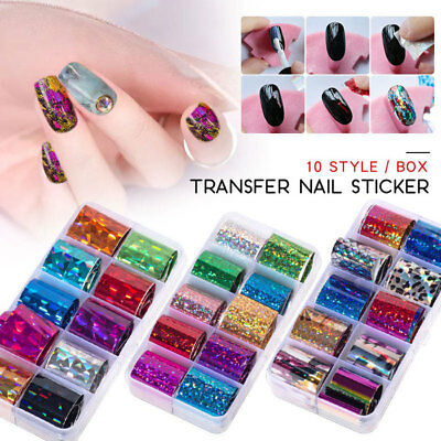10 Rolls/Box Holographic Nail Foils Set Transfer Stickers Adhesive Wraps Decals