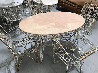 Vintage French wrought iron and marble garden table and chairs.#2343d