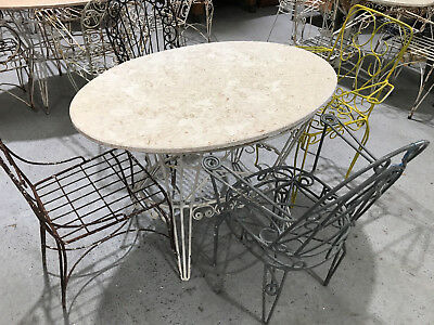 Vintage French wrought iron and marble garden table and chairs.#2343f