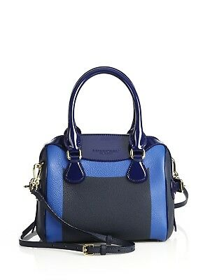 924439ef0424 100% Auth New Burberry Mini Bee Blue Color Block Pebbled   Patent Bag  handbag