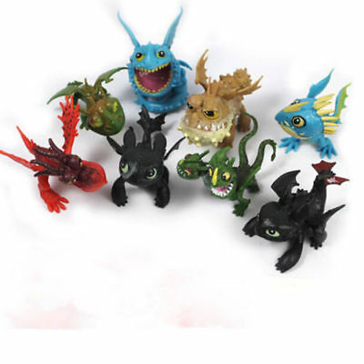 8PCS How to Train Your Dragon Action Figures Set: Toothless Night Fury Nadder SS