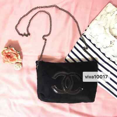 678779beac17 Authentic Classic Chanel Beauté Cosmetic Chain Black Makeup Bag VIP Gift