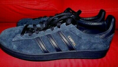 more photos e585f df840 Adidas Originals Campus Navy on Navy Suede Leather Gold Mens Shoes Sneakers  10.5
