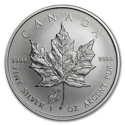 2015 Canadian Maple Leaf Goat / Sheep Privy 1 oz .9999 Silver Coin