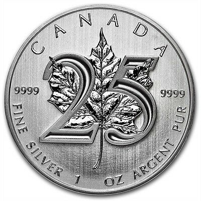 2013 $5 Canadian Maple Leaf 25th Anniversary 1 oz .9999 Silver Coin