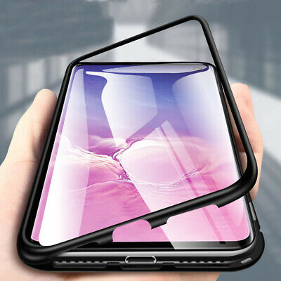 Magnetic Adsorption Bumper Case Tempered Glass Cover For Samsung Galaxy S10 plus